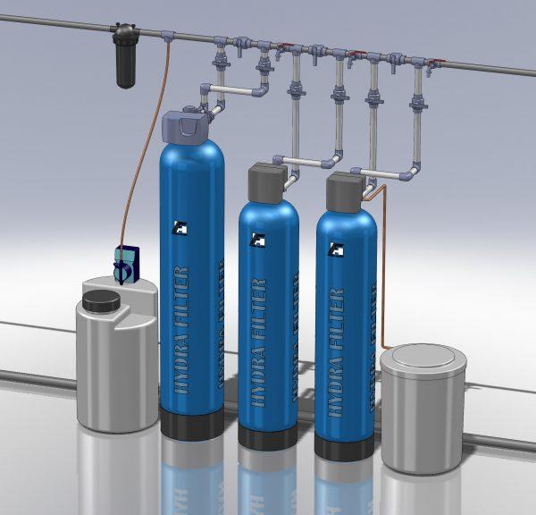 Водоподготовка для коттеджа #4. 2000 л/час (4-5 одновременно открытых крана) Растворенное железо до 5-6 мг/л
